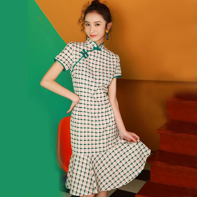 チャイナ風ドレス スタンドネック 半袖 ショート丈 エレガント 着痩せ 上品 S M L LL チェク柄 マーメイドライン レッド グリーン 赤い 緑