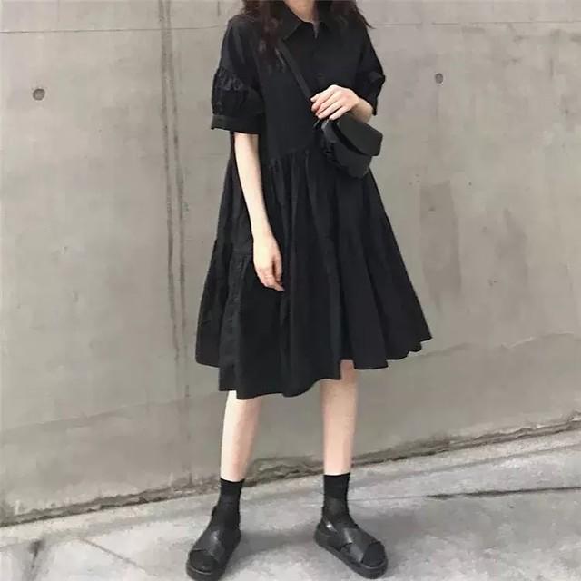 ブラックティアードシャツワンピ D2198