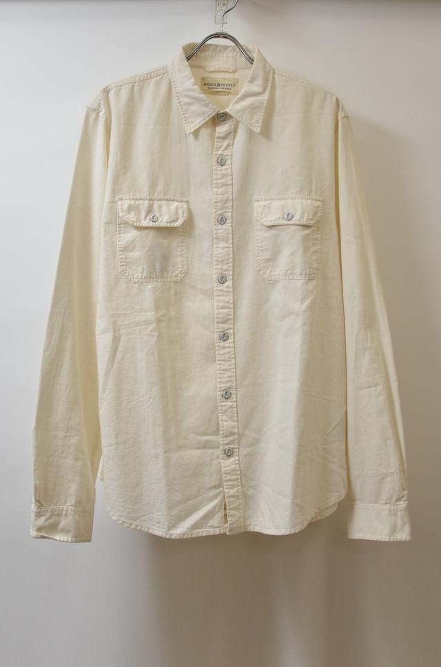 【XLサイズ】 DENIM&SUPPLY デニム&サプライ BACKPRINT L/S SHIRTS 長袖 シャツ WHITE ホワイト 400602190643