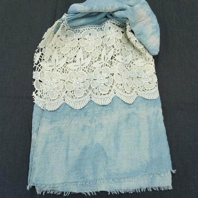 藍染こば屋 / 藍染のストール(花柄)