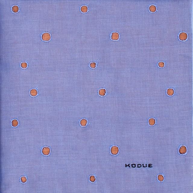 ひびのこづえ ハンカチ 丸穴 / パープル 刺繍入り 2枚合わせ 48x48cm KH07-04