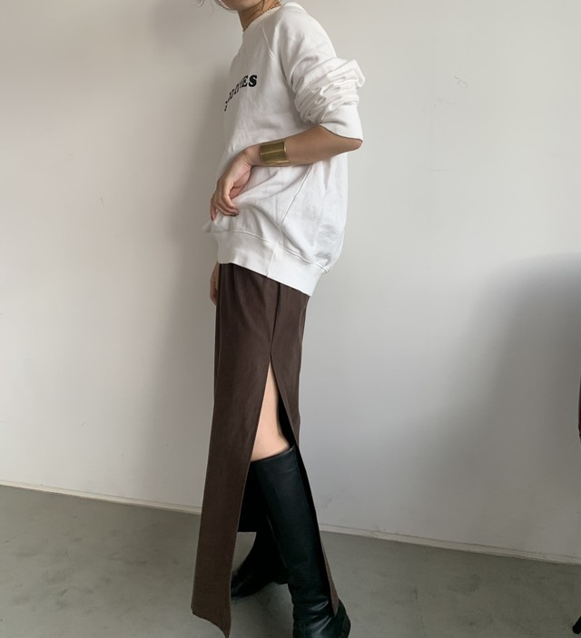 original Long slit skirt 【brown】