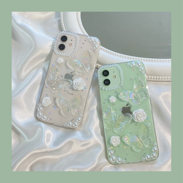 white rose butterfly iphone case