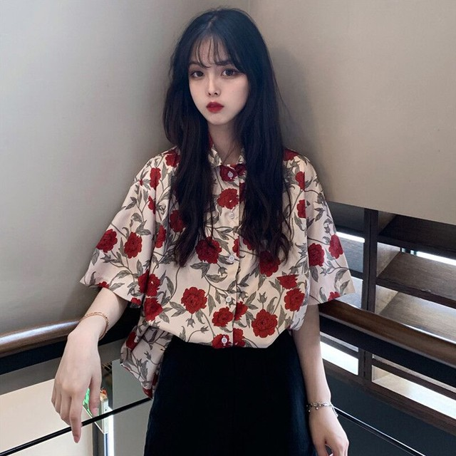 【トップス】流行りファッションINS大人気レトロ小柄Tシャツ20774280