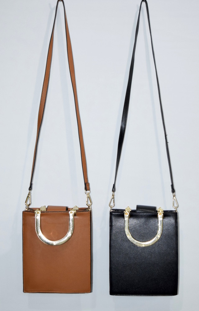 (全2色)GOLD HANDLE SQUARE BAG