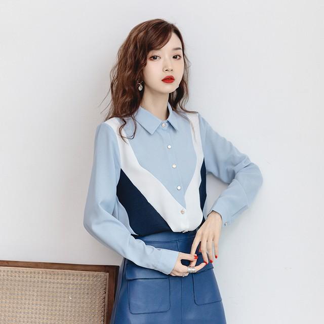 シャツ ブラウス トップス 上着 レディースファション 新作 韓国風 シンプル エレガント 通勤 OL オフィス 折り襟 Vネック 長袖 シングルブレスト ゆったり 個性的 可愛い デート 普段着 大きいサイズ S M L LL 3L 配色 ブルー 青い