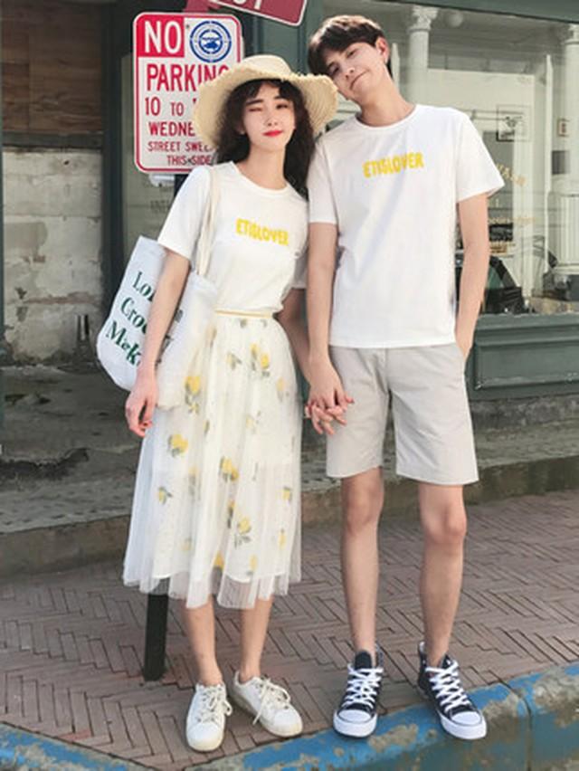 檸檬柄 ミモレ丈 チュールスカート Tシャツ 0929 メンズTシャツ カップル ペアルック リンクコーデ カジュアル お揃い デート