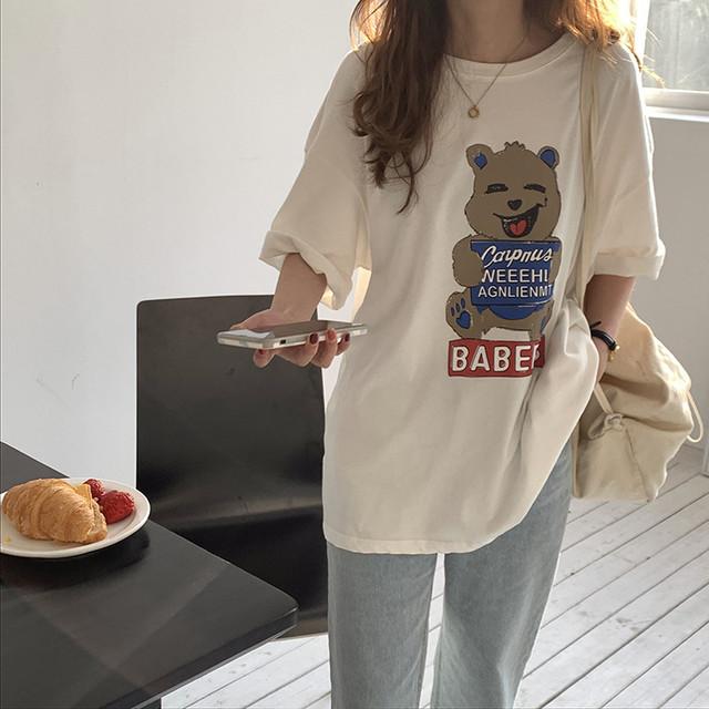 キュートベアプリントオーバーサイズTシャツ S3750