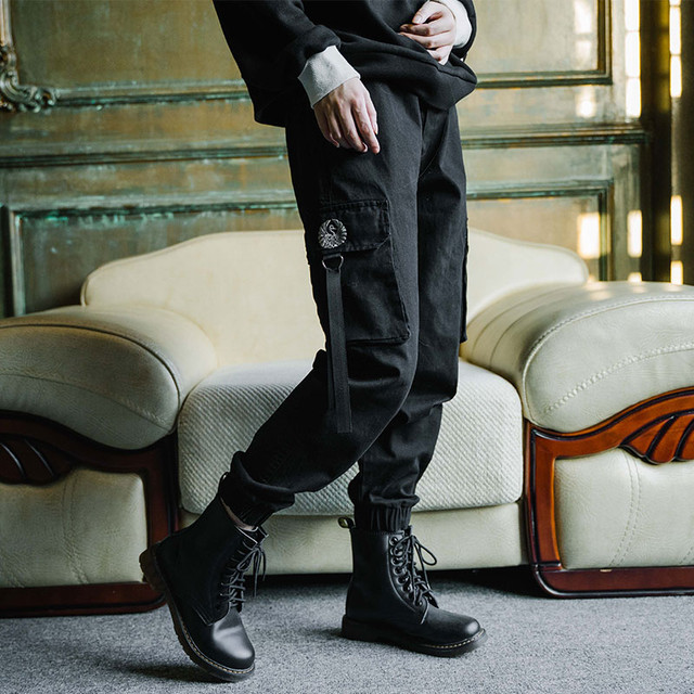 【古怪舍シリーズ】ズボン ボトムス 鶴刺繍入り ブラック 黒い M L LL レトロ ポケット付き 厚て