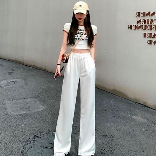 【ボトムス】合わせやすいファッションワイドパンツハイウエストカジュアルパンツ35678392
