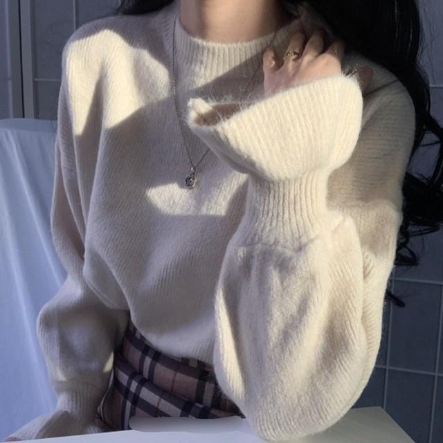 【トップス】超人気商品スウィート プルオーバーギャザー飾りフリルスリーブセーター35168249