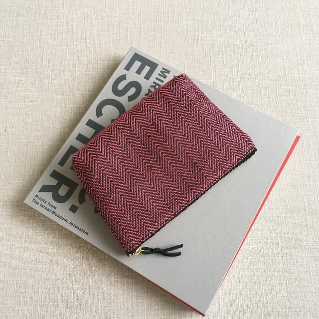 Make up bag Pink herringbone