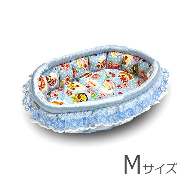 ふーじこちゃんママ手作り ぽんぽんベッド (サテンブルー・ボア・ヒョウ柄)Mサイズ 【PB8-111M】