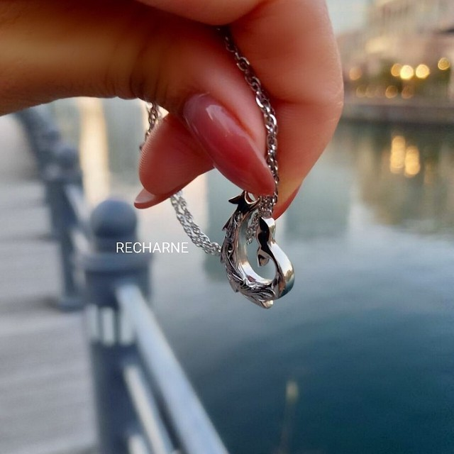 Whaletail Fishhook necklace シルバーカラー