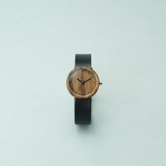 Walnut wood - Organic leather Black - S