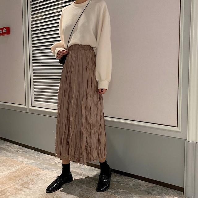 シワ加工プリーツスカート(ホワイト・ベージュ・ブラック)|おしゃれ ゆるめ