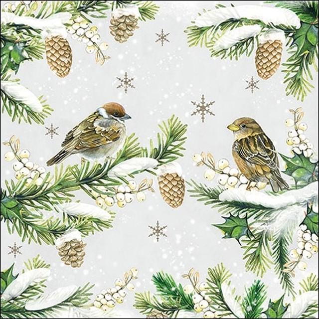 2020秋冬新作【Ambiente】バラ売り2枚 ランチサイズ ペーパーナプキン Sparrows In Snow グレー