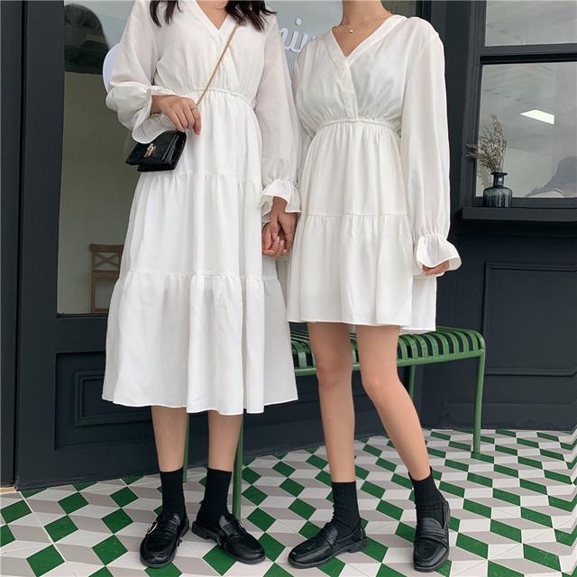 【ワンピース】ファッション新作Vネット無地長袖カジュアルワンピース33043001