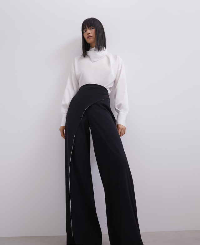 STRAIGHT TROUSERS WITH OVERLAYER [268112298102]