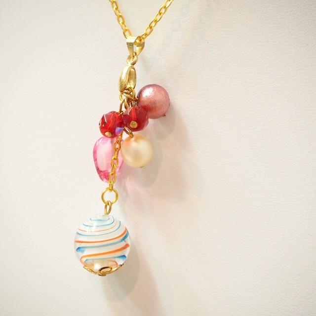 【SnowFlower】トンボ玉ネックレス