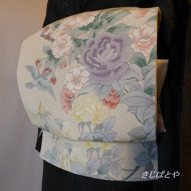 正絹 白銀に季節の花の袋帯