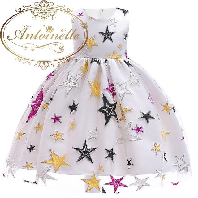 【年末一掃セール150サイズ×3】2色展開 白 黒 星 星柄 ギャラクシー クリスマス パーティードレス セレモニー フォーマル こども 子供服 おんなのこ キッズドレス