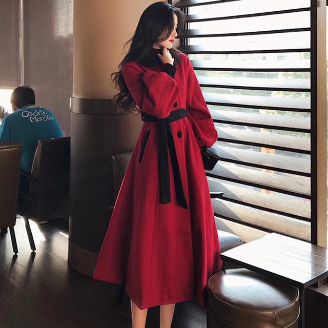 【アウター】豊富な品揃え ファッション ランタンスリーブ リボン ベルト付き ロング コート35113245