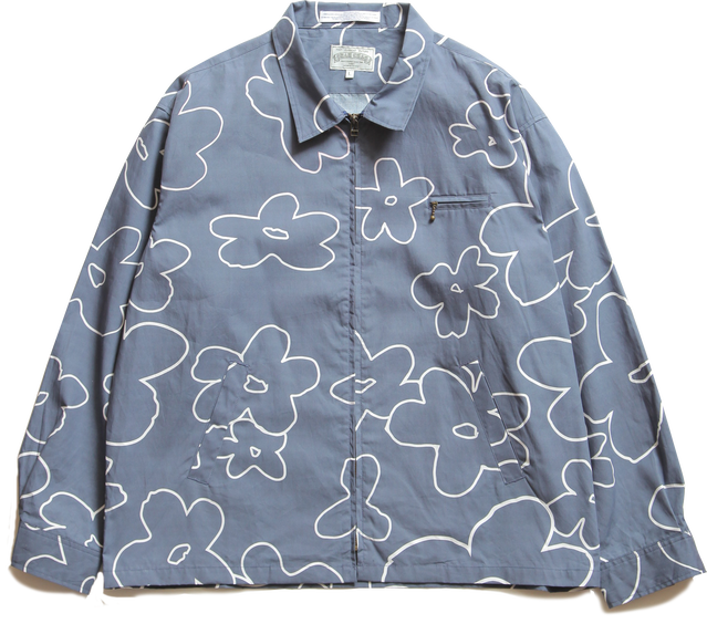 FLOWERED PATTERN ZIP BLOUSON-NAVY