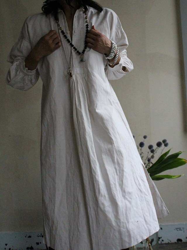 1900's antique Frenchi  linen smock
