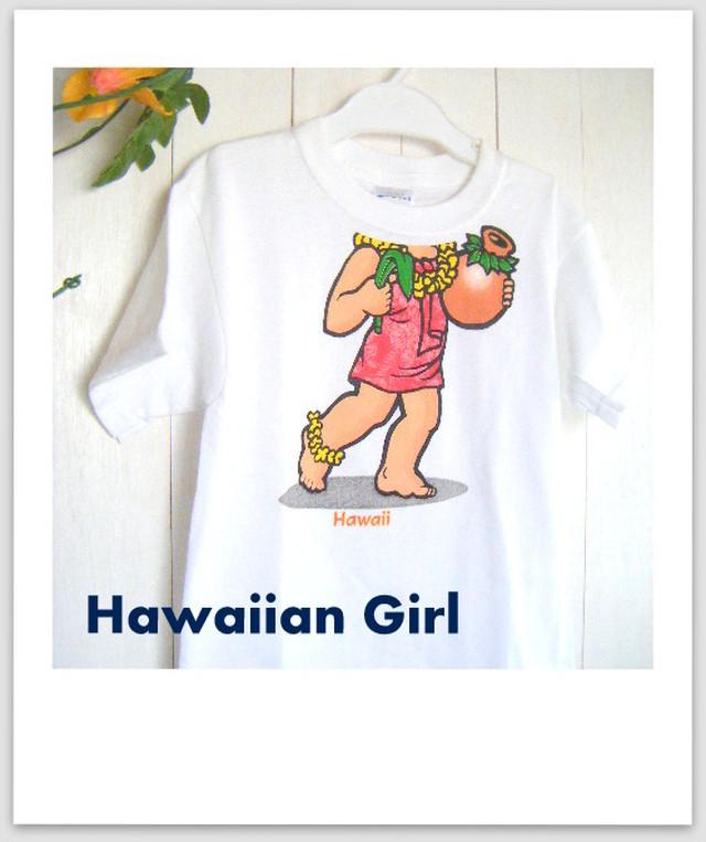 ハワイアン イラストTシャツ(ハワイアンガール)