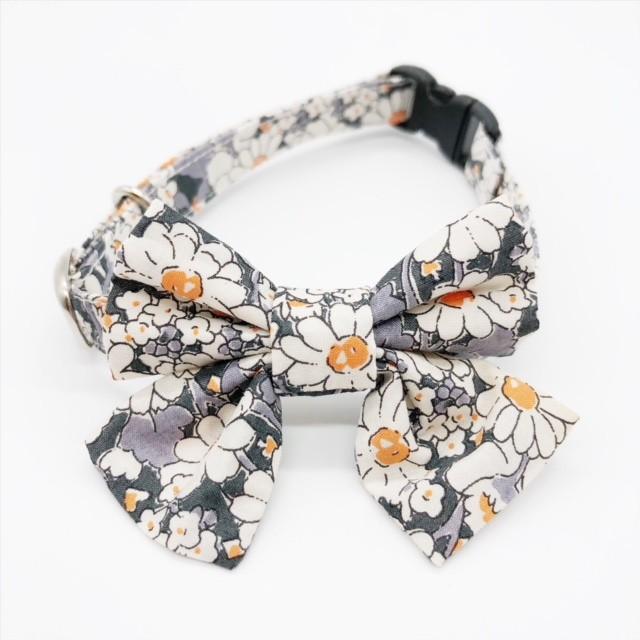 猫 首輪 リボン中 ブラック 花柄 リバティプリント×Alice W