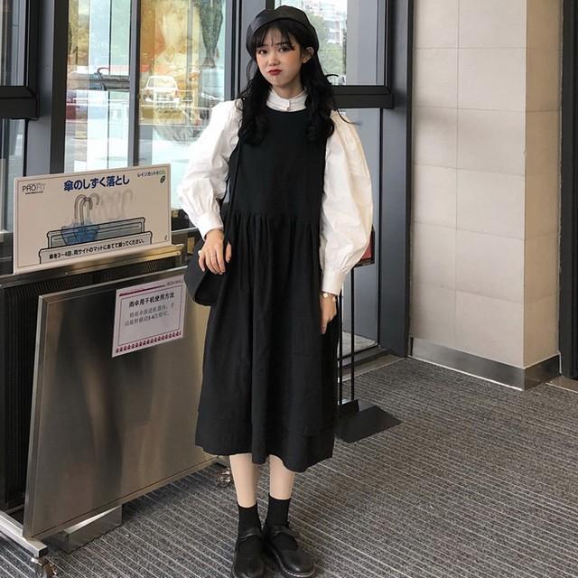 【set】「単品注文」レトロ長袖着痩せパフスリーブシャツ/ノースリーブ合わせやすいワンピース