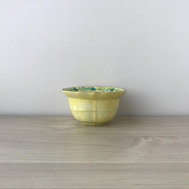 【三川内焼】黄交趾 桔梗渕木甲小鉢