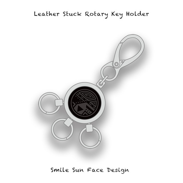 Leather Stuck Rotary Key Holder / Smile Sun Face Design 004