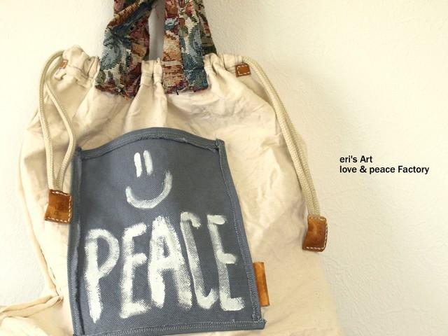 布+革 巾着バッグ Bag-114
