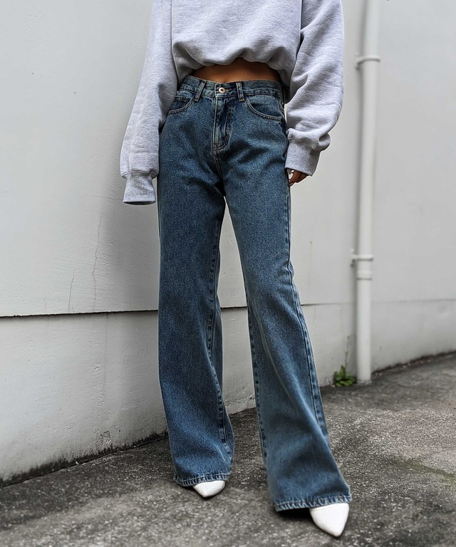 High waist long wide denim