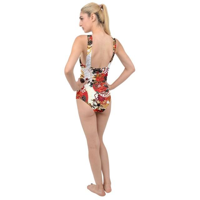牡丹家紋 Cross Front Swimsuit