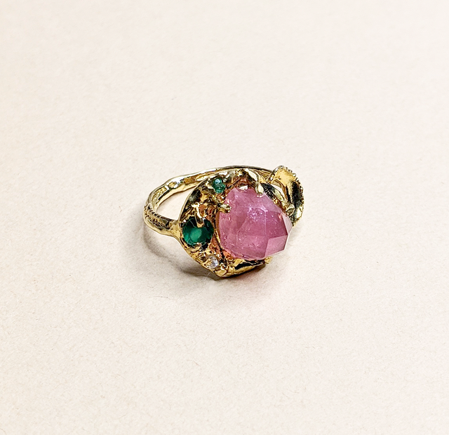 Pink Tourmaline & Emerald Ring