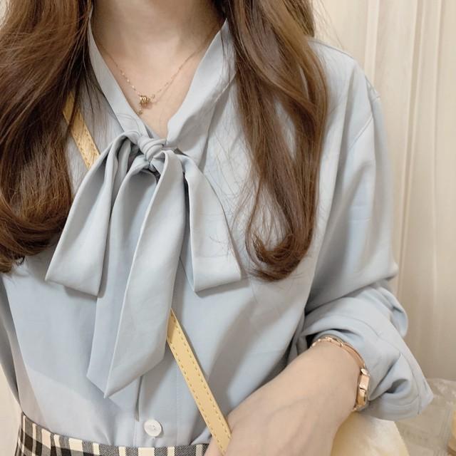 ナチュラルボウタイブラウス【natural bowtie blouse】