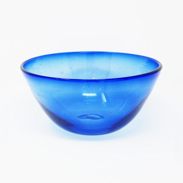ガラス工房 清天 気泡ボウル 小 ブルー 琉球ガラス
