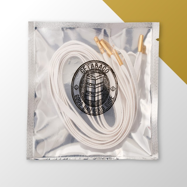 [beauty & youth別注] METAL TIP FLAT LACES [WHITE/GOLD]