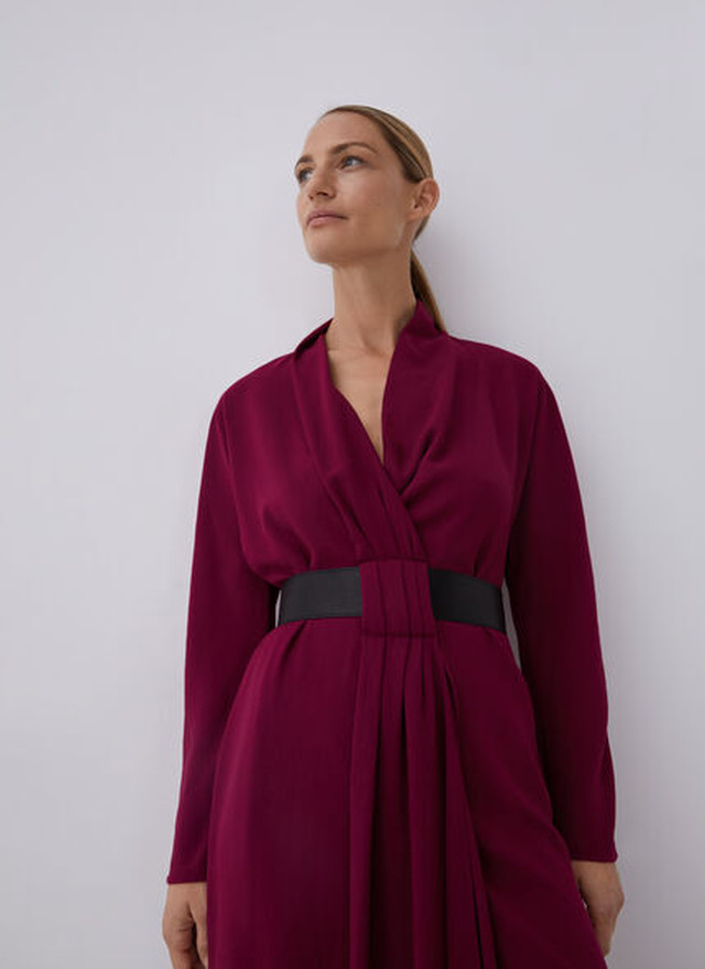 WRAP DRESS WITH FAUX LEATHER BELT