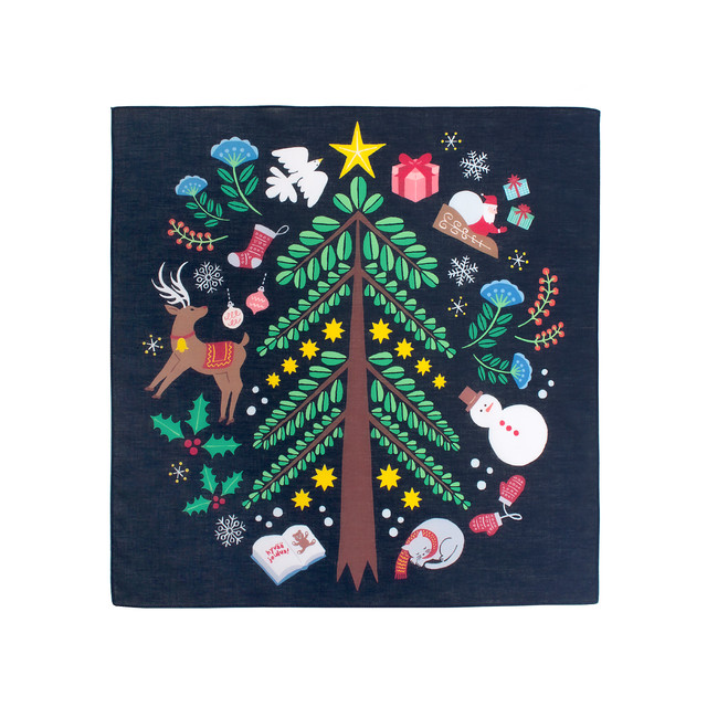 【ネコポス対応】Christmas Handkerchief 【ANGERS Original】