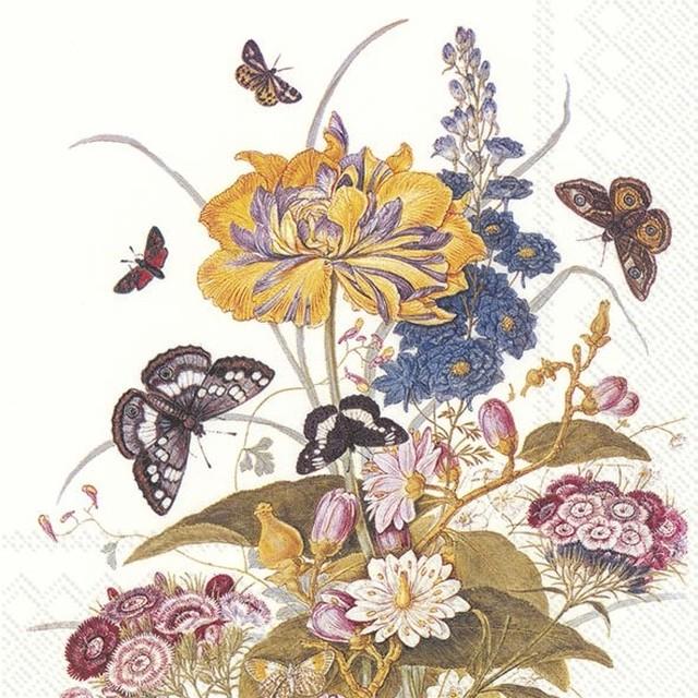 【IHR】バラ売り2枚 ランチサイズ ペーパーナプキン ORNAMENTAL FLOWERS ホワイト