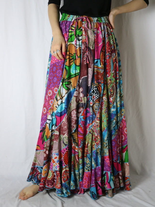 India cotton all pattern long skirt【5544】