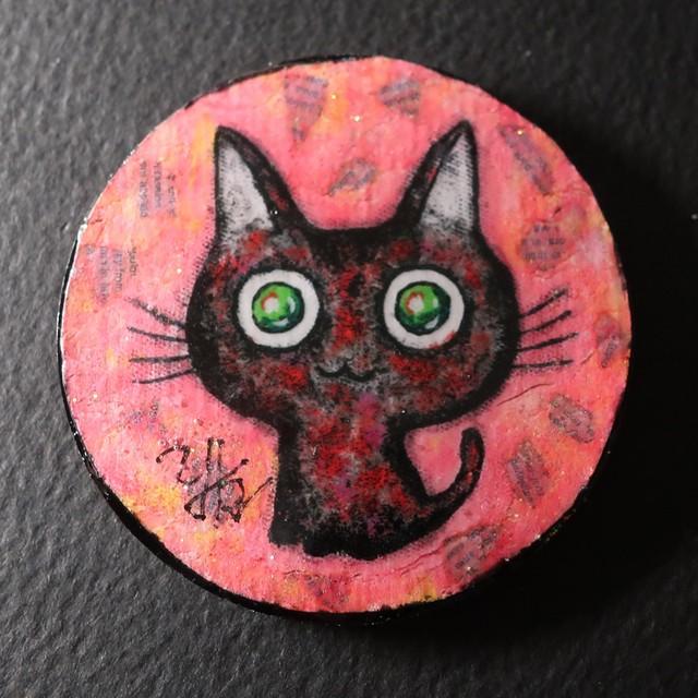 黒猫バッチ(ピンク)
