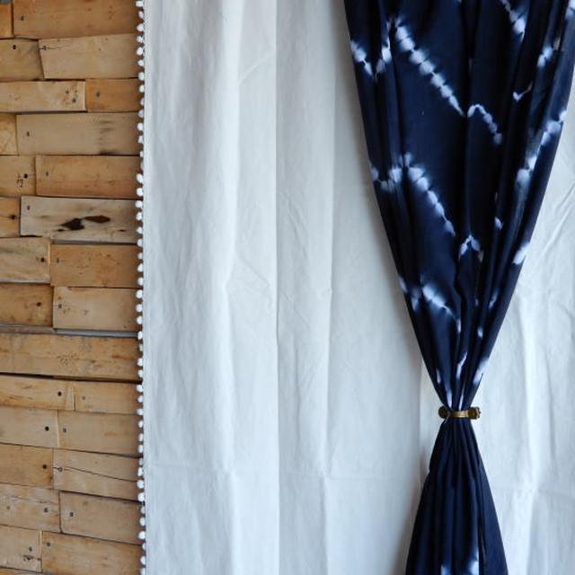 TOPANGA INTERIOR COTTON CANVAS POMPOM CURTAIN コットンキャンバスポンポンカーテン W105xH240cm