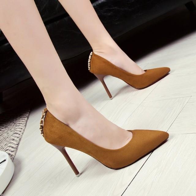 【shoes】ポインテッドトゥレディース浅い口美脚パンプス 23828590