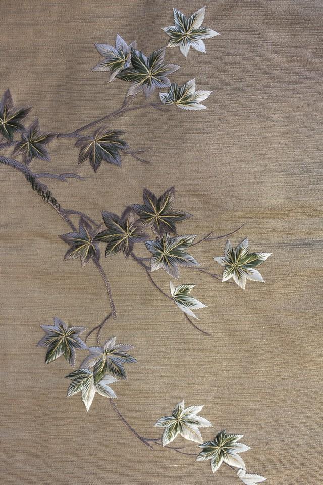 紅葉 刺繍名古屋帯