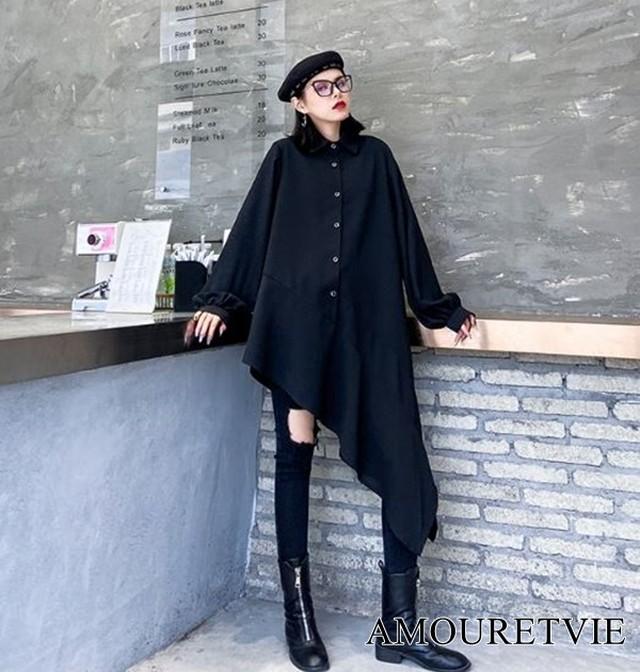 ロングシャツ アシンメトリー 黒 ブラック 白 ホワイト スタイリッシュ ワントーン シック モード系 ヴィジュアル系 1152